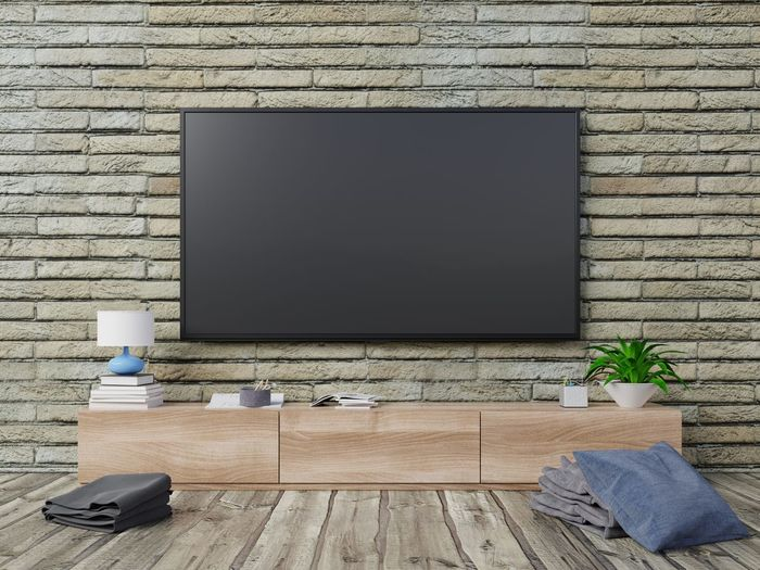 TV room with brick wall and tv shelf in empty room, 3d rendering Technology Wall Living Room Computer Table Wood - Material No People Indoors  Brick Wall Television Set Flooring Brick Wall - Building Feature Domestic Room Plant Wood Sofa Day Home Interior Furniture Modern Flat Screen Blank Tv Smart Tv