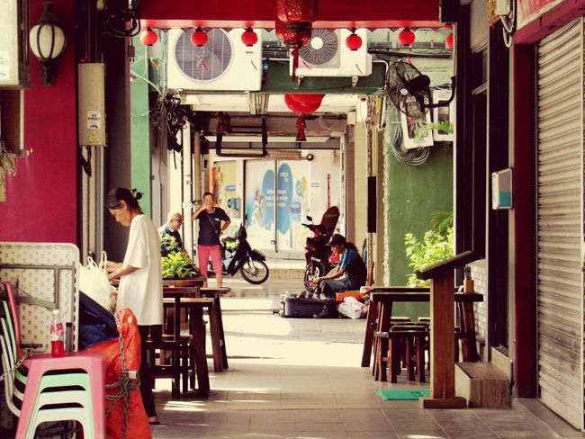 Quiet Morning Quiet Simplicity Old Buildings Oldtown Old House Adults Only Built Structure Paths Of Life Old Shops Business Finance And Industry Kuching, Sarawak Eye4photography  EyeEmNewHere Corridors  Green And Red Shops Streetphotography