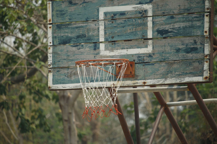 Close-up of basketball hoop against clear sky