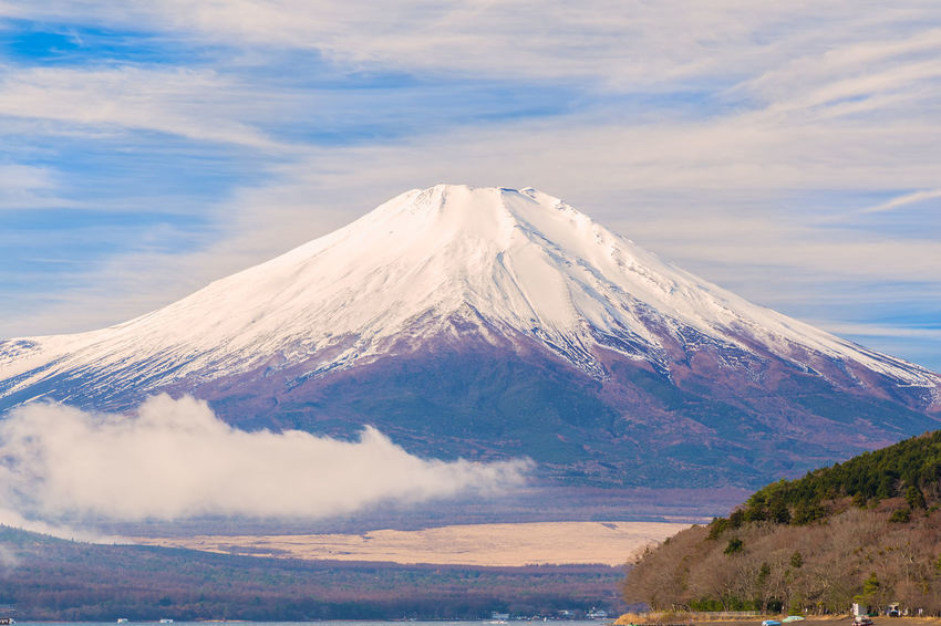 Cloud Japan Japan Photography Morning Mt Fuji Winter Yamanashi Beauty In Nature Blue Cloud - Sky Fuji Fujiyama Lake Lake Yamanaka Landscape Mountain Nature No People Non-urban Scene Power In Nature Scenics - Nature Sky Snow Snowcapped Snowcapped Mountain