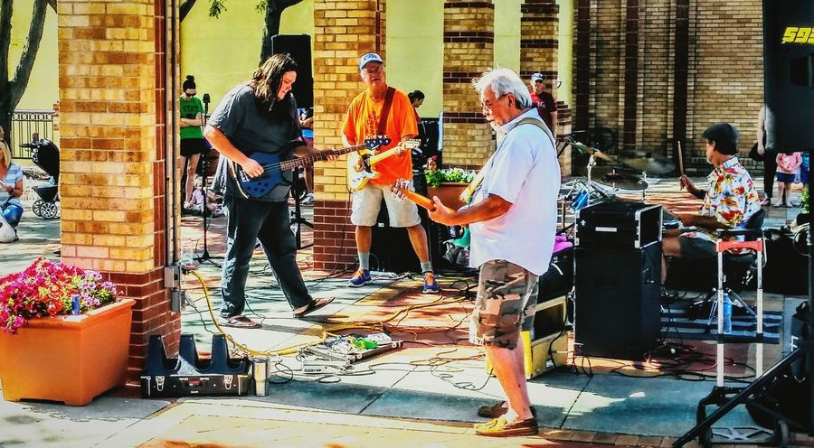 Real People Full Length Standing Only Men Outdoors Musician. Band Musical Instrument Building Exterior Architecture Electric Guitar Music Photography  Band Photography Farmers Market EyeEm Best Shots EyeEm Gallery Irwin Collection Cheerful Fun Summer ☀ Guitar Hero