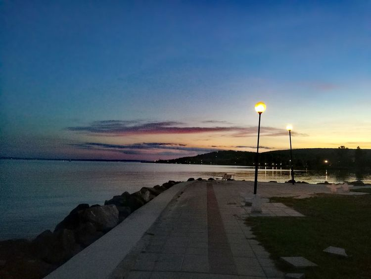Sky Night Beach Sunset Street Light Water No People Horizon Over Water Beauty In Nature Outdoors Sea Balaton - Hungary Lake Balaton Clouds Sky Colours