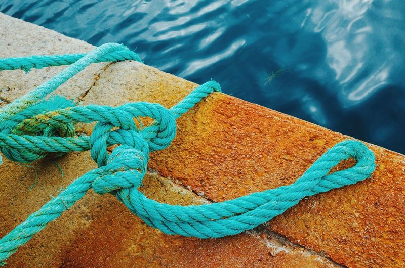Water High Angle View Sea Rope Rippled Strength Vacations At The Edge Of Day Blue Travel Destinations Relaxation Outdoors Harbor Tourism Tranquility