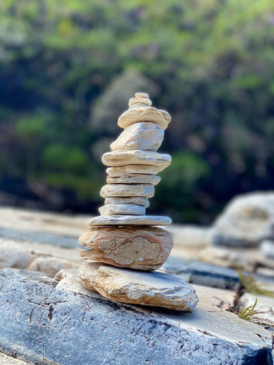 Stack of stones on rock