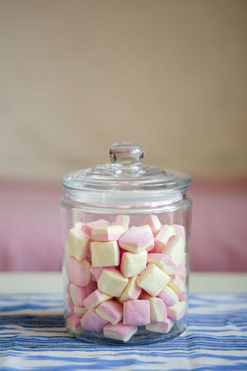 Marshmallow Marshmallows Pink Soft Sugar Candy Colorful Confectionery Fluffy Glass Jar Pastel Sweet Sweets Table Yummy