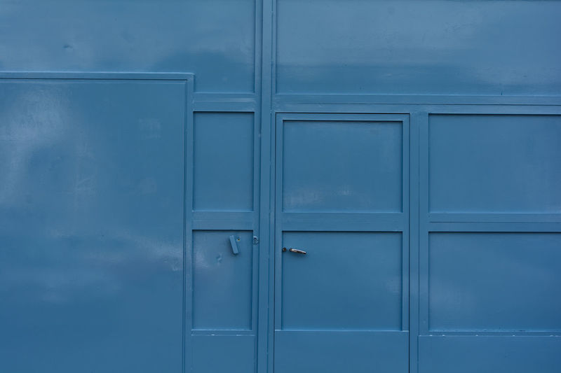 Full frame shot of closed blue door