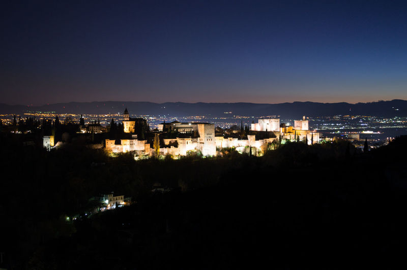 Granada, Spain SPAIN Andalusia Sacromonte Alhambra Albaycin Albaicin City Architecture Night Built Structure Building Exterior Illuminated Cityscape Sky No People High Angle View Building Nature Residential District Mountain Outdoors Clear Sky City Life Copy Space Dark Skyscraper