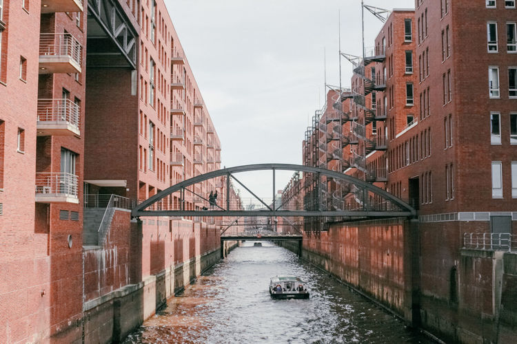 Hamburg Arch Arch Bridge Architecture Brick Bridge Bridge - Man Made Structure Bridge View Building Building Exterior Built Structure Canal City Connection Day Mode Of Transportation Nature Nautical Vessel No People Outdoors Sky Transportation Travel Travel Destinations Water