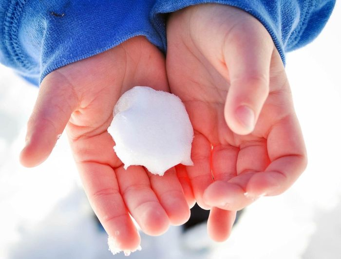 Cropped Image Of Hand Holding Snow Ball