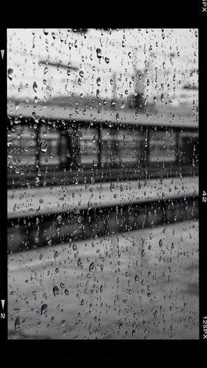 Rainy Days Munich Train Black And White