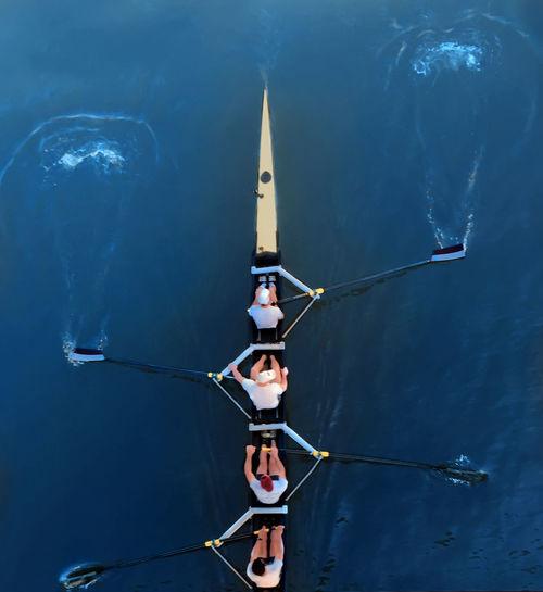 Low angle view of man sailing on sea