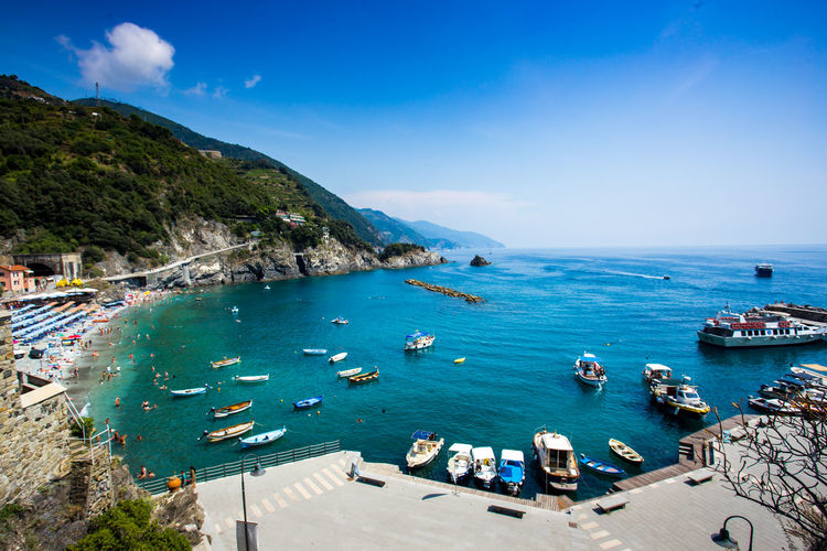 Landscape of Monterosso Italy Beautiful Blue Sea Cinque Terre National Park Freshness Mediterranean  Nature Scenic Travel Beach Boat Cinque Terre Monterosso Al Mare Cinque Terre Cityscape Cinque Terre Liguria Day Destination Italy Nature Outdoors Sea Seascape Summer Top View Tourism Variation Water EyeEmNewHere