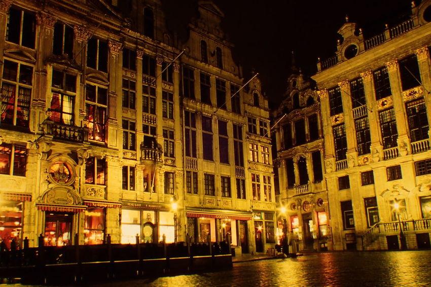 Architecture Belgium Brussels Building Exterior City Grand Place Illuminated Night Travel Destinations