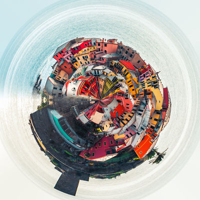 Little planet 360 degree sphere. Panoramic view of Vernazza. Italy 360 Degree Architecture Circle City Cityscape Houses Italian Riviera Liguria,Italy Panorama Panoramic Skyline Sphere TOWNSCAPE Architecture Building Exterior Built Structure Colorful Italy Landscape Outdoors Planet Three Dimensional Three Dimentional Photography Urban Skyline Vernazza