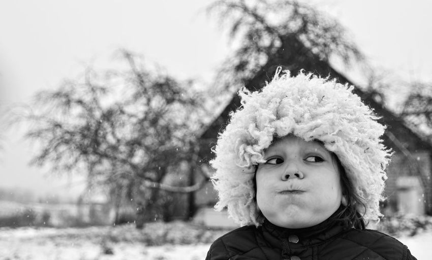 Portrait Headshot Child Childhood Children Only Day Outdoors Winter Warm Clothing Happiness Boy Hat Snow Rural Scene Lithuania