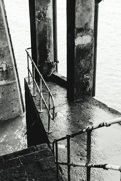 Under the dock at Gorey Jersey Jersey Channel Island UK Nautical Vessel Staircase Day No People Water Sea Outdoors Close-up Architecture 3XSPUnity