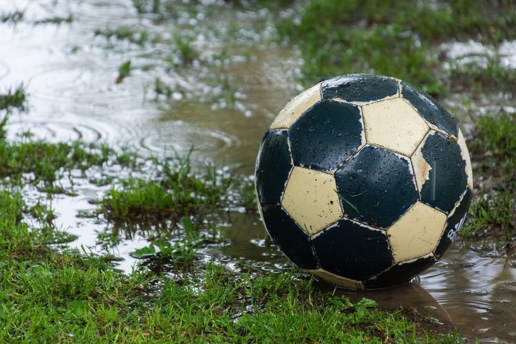Close-up of soccer ball on grass by lake