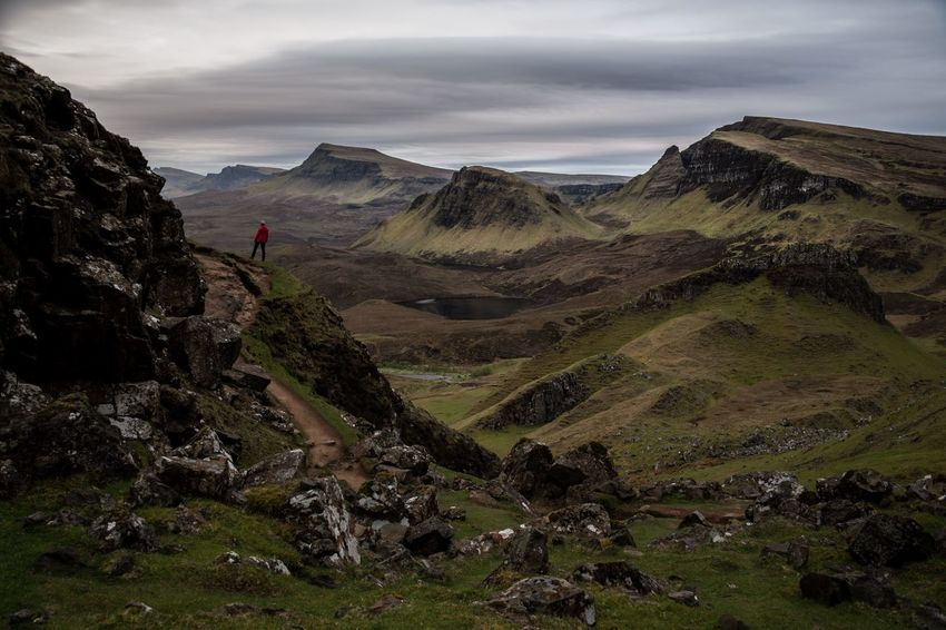Formation Rock Scotland The Great Outdoors - 2018 EyeEm Awards Activity Adventure Hiking Landscape Leisure Activity Lifestyles Mountain Mountain Range Nature Non-urban Scene One Person Outdoors Quiraing Remote Scenics - Nature Unrecognizable Person