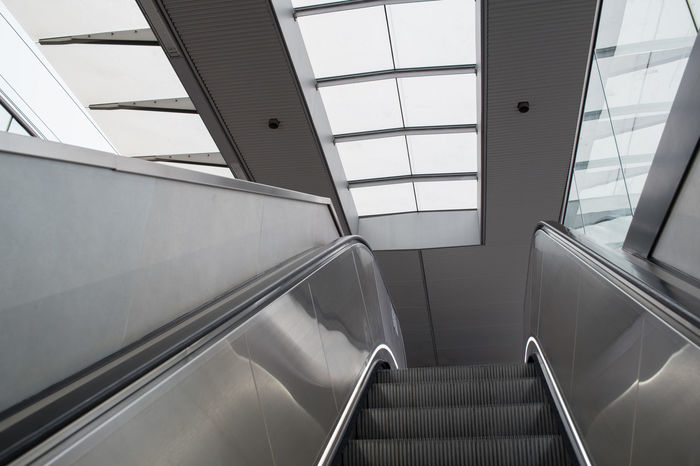 Architecture Built Structure Escalator Futuristic Hand Rail Low Angle View Modern No People Railing Stairway Steps Steps And Staircases