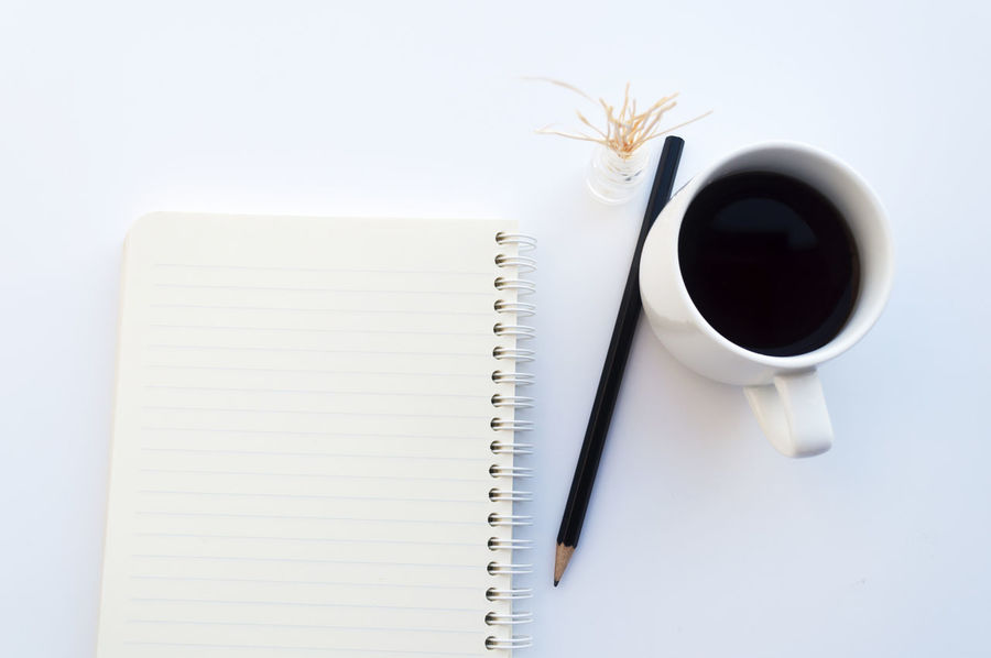 Close-up Coffee Cup Cup Drink Food And Drink Indoors  ISO No People Non-urban Scene Note Pad Paper Pen Spiral Notebook Tea - Hot Drink Tea Cup White Background