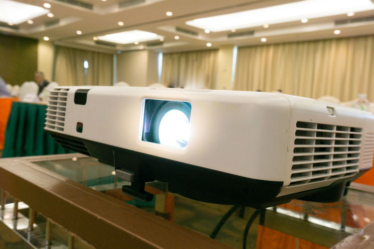 Screen Business Close-up Focus On Foreground Lighting Equipment Modern No People Projector Table Technology White Color