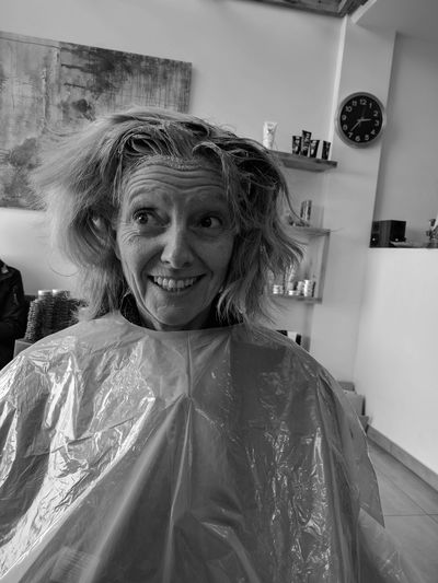 Portrait of woman at hairdresser
