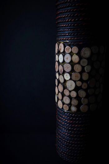 Wooden flower vase Pattern No People Indoors  Illuminated Black Background Close-up Night Wood Vase Flower Vase Home Decor Moodyphotography Dark Photography Dark Background Wooden Vase EyeEmNewHere
