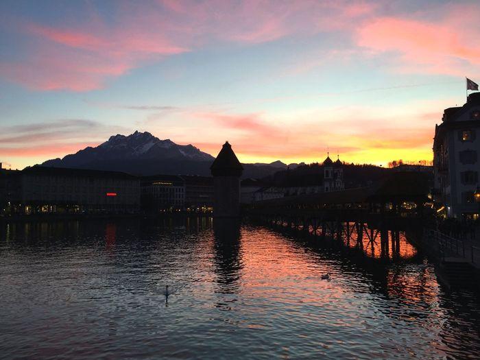 Luzern Lucerne LakeLucerne City Pilatus Schweiz Switzerland Evening Evening Sky Wasserturm
