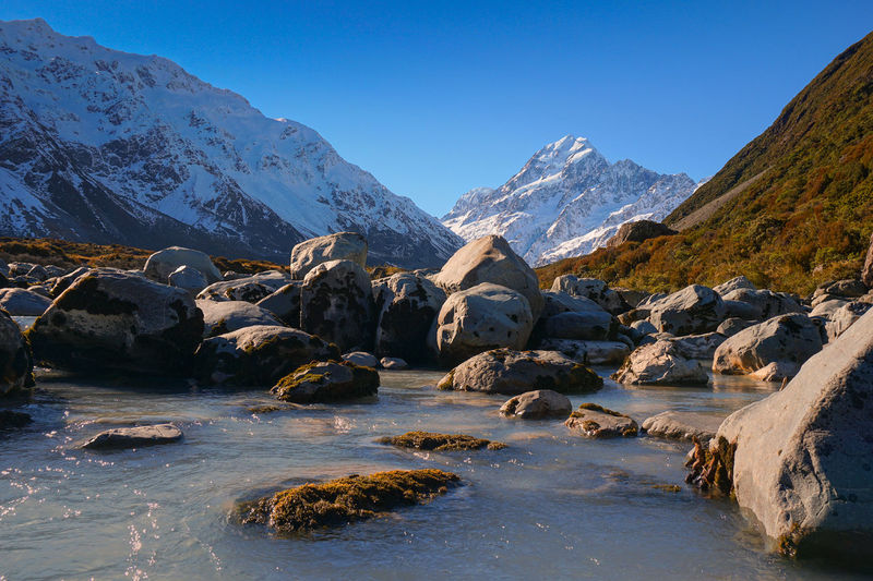 The river from glacier lake with Mount Cook in the background Sky Water Mountain Beauty In Nature Scenics - Nature Rock Tranquil Scene Tranquility Solid Clear Sky No People Rock - Object Nature Mountain Range Day Non-urban Scene Winter Cold Temperature Snow Snowcapped Mountain Flowing Water Flowing