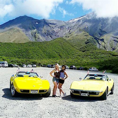 Roadtrippin' Newzealand Yellow Convertibles Vintage Cars Mt Taranaki Landscape. Wanderlust Girlsandcars BestFriendGoals♥♥