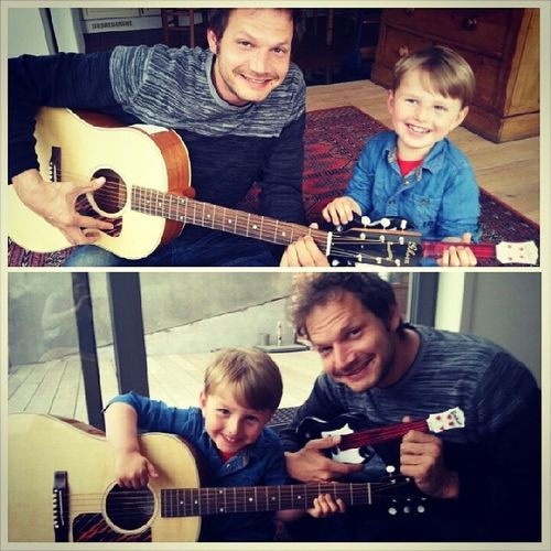 Sunday jam session with my Nephew Jules! He totally rocks both guitars doesn't he? :-) • TstGuitar with @gibsonguitar • TstHome Lebbeke Guitar Music •