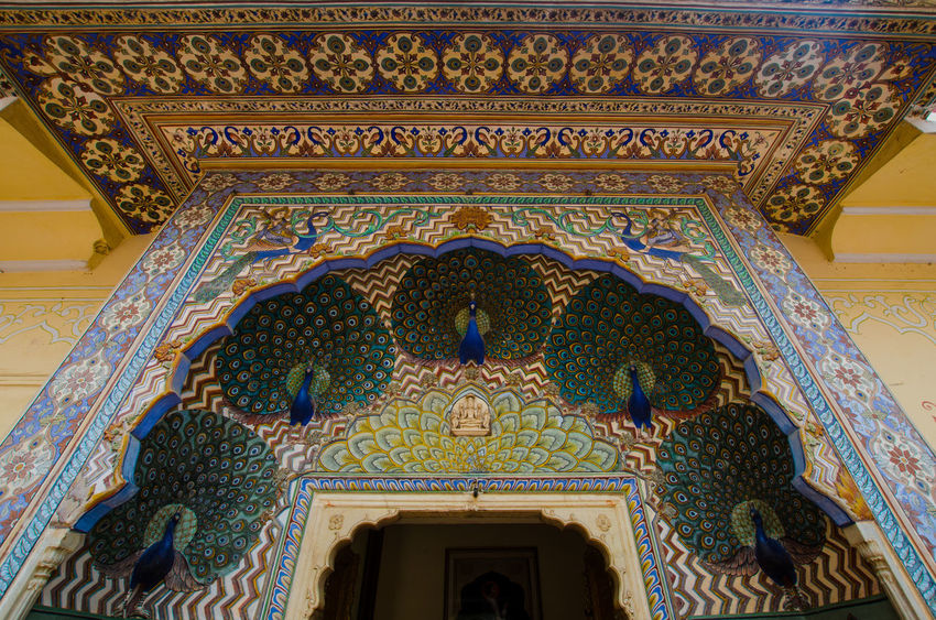 Amer Fort Amer Palace Art And Craft Entrance Façade Famous Place India Jaipur Pavone Peacok Rajasthan Tourism