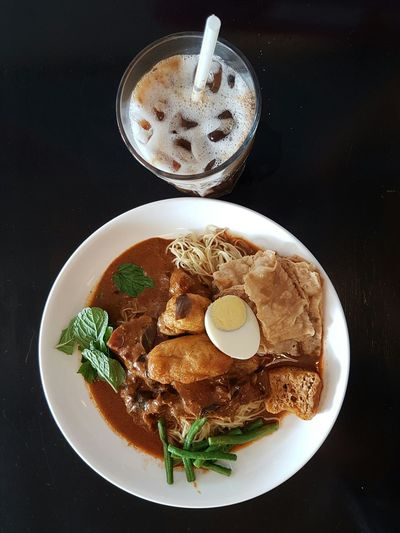 Food Food And Drink Breakfast Ready-to-eat No People Currychicken Curry Chicken Curry Wantan Mee Wantanmee Malaysian Food Malaysia Truly Asia Noodle Noodles Coffee Iced Coffee Ice Malaysianfood Chinese Food Asianfood