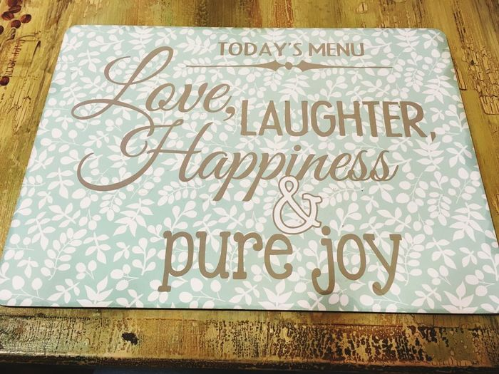 Menu Love ♥ Laughter Happiness ♡ Pure Joy. Message Quotes Quoteoftheday Uk Hospitality Cozy Home