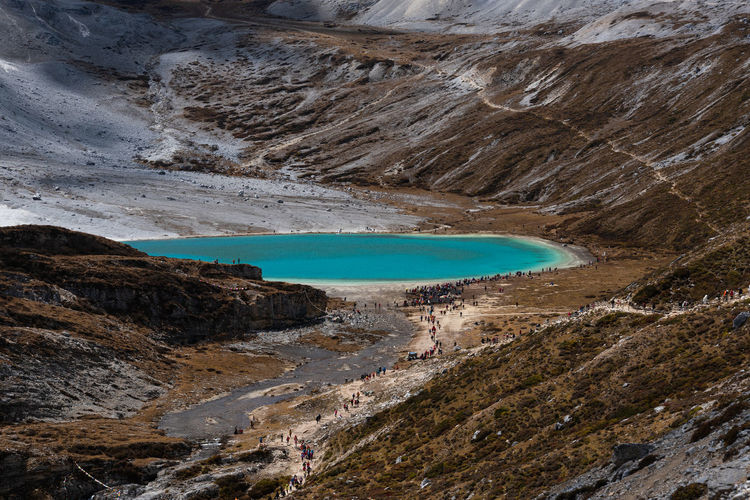 Scenic view of milk lake in yading