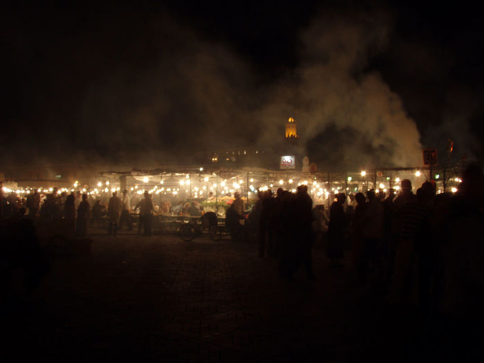 Adventure Africa City City Center Cityscapes Cooking Dark Distance Festival Glowing Hazy  Lights Marrakech Medina Moody Morocco Night Nighttime Outdoors Smoke Smoky Travel