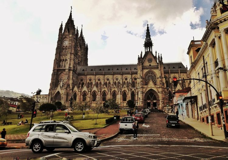 Building Exterior Car Architecture City Sky Built Structure Tower Travel Destinations History Clock Tower No People Outdoors Clock Cityscape Day Basilica Quito Ecuador