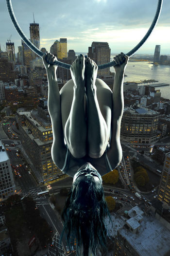 Acrobatic Acrobatics  Aerial Aerial Acrobatics Legs Manhattan Model New York New York City USA Woman Aerial Hoop Girl Dusk In The City Night Lights Night Photography Dusk Upside Down The Creative - 2018 EyeEm Awards