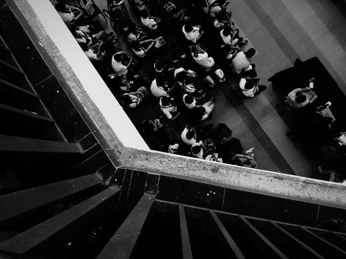 A Bird's Eye View Eyeem Philippines EyeEm Gallery EyeEm Best Edits EyeEm Best Shots BestEdits Week Of Eyeem Eyeemphoto Mobilephotography Down Buttom Students Hawkeye EyeEm Masterclass Bnw Blanckandwhite Bnw_collection Bnw Photography Bnwphotography Monochrome Photography