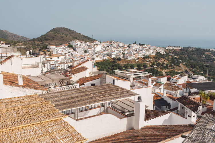 High angle view of townscape against clear sky