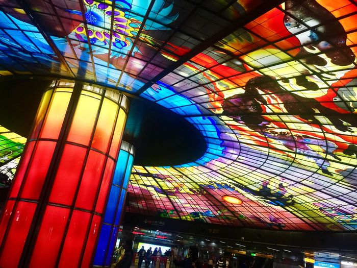 ASIA Kaohsiung Taiwan Station Architecture Built Structure Architecture Low Angle View Multi Colored Indoors  Stained Glass No People Building