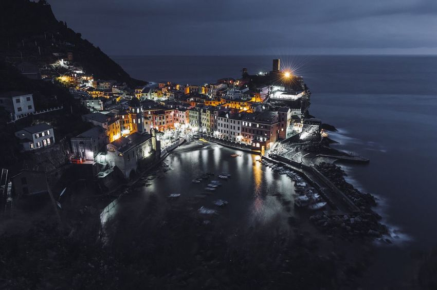 Architecture Building Exterior Built Structure Illuminated Town High Angle View Water Night Sky Outdoors City Place Of Worship No People Spirituality Sea Travel Destinations Cityscape Nature Cinque Terre Cinqueterre Vernazza