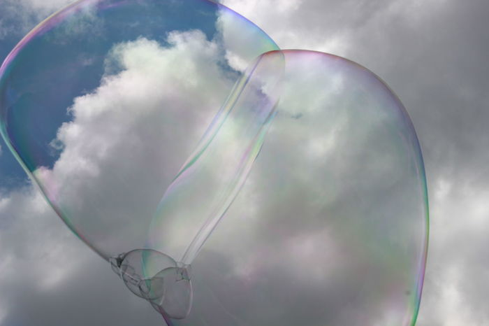 Dreams & Bubbles flying high Beauty In Nature Bubble Bubble Wand Close-up Day Fragility Freshness Multi Colored Nature No People Outdoors Rainbow Sky Spectrum