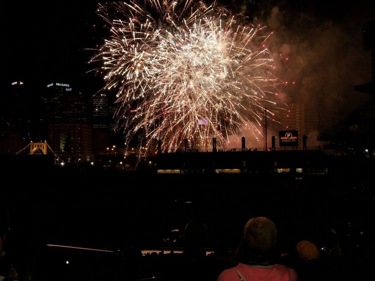 Night Firework Display Exploding Celebration Firework - Man Made Object Arts Culture And Entertainment Event Long Exposure Blurred Motion Illuminated Awe Cityscape Multi Colored Celebration Event Sky Motion Outdoors Spectator Large Group Of People Excitement Baseball Stadium Pittsburgh Pirates Pennsylvania Pittsburgh PNC Park