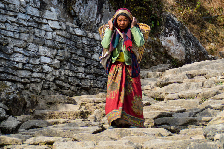 Adult Beauty Carrying Cheerful Happiness Native Nepal Nepal Old Woman One Person Outdoors People Poonhilltrek Poor People  Real People Smiling Stone Steps People Photography Light And Shadow Traditional Clothing Traditional Dress Ulleri Women Woman Of Nepal Woman At Work Miles Away