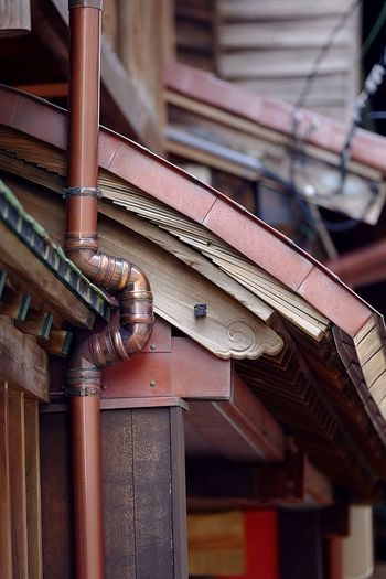 Close-up of old machine part of building