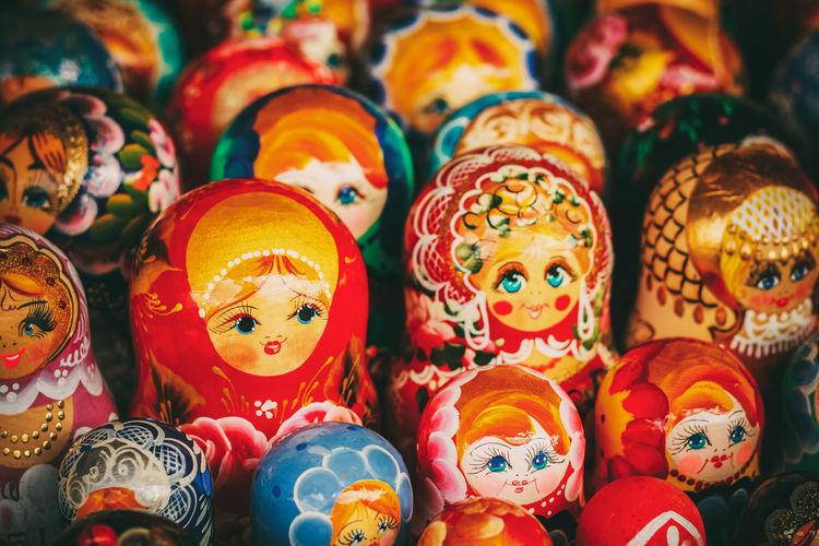 Full frame shot of babushkas for sale at market stall
