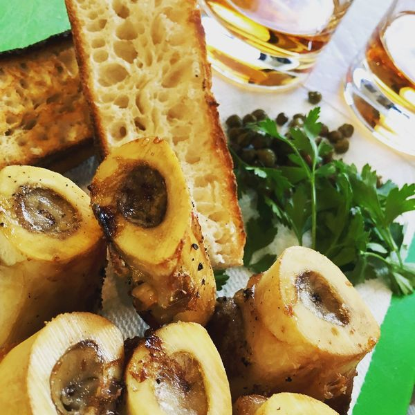 Roasted bone marrow with capers , parsley, sourdough toast and Madeira - chefs lunch !