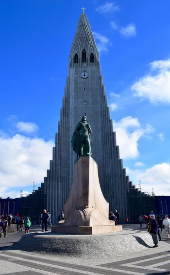 Hallgrìmskirkja Iceland Reykjavik Architecture Building Exterior Built Structure Cloud - Sky Day Human Representation Large Group Of People Outdoors People Real People Sculpture Sky Statue Travel Destinations Vacation Women