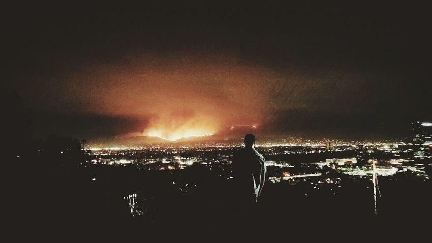 Night Silhouette Outdoors Water Nature Fire Bushfire Seasonoffire Fireseason